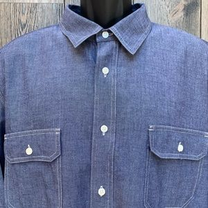 Lucky Brand Chambray Blue Long Sleeve Button Down.